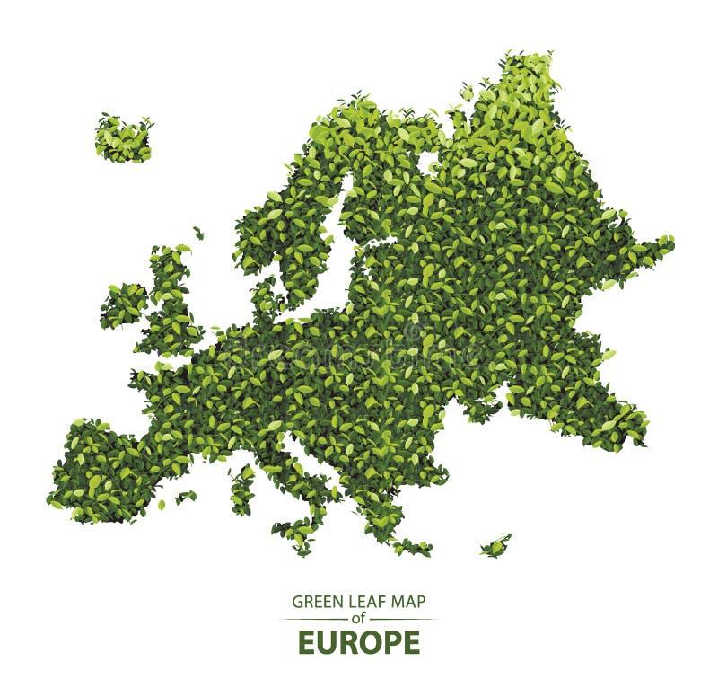 De groene bladkaart van de vectorillustratie van Europa van een bos is concept vector illustratie