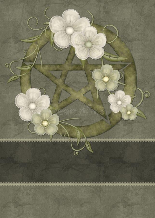 De Groene BloemenAchtergrond Pentagram van de olijf vector illustratie