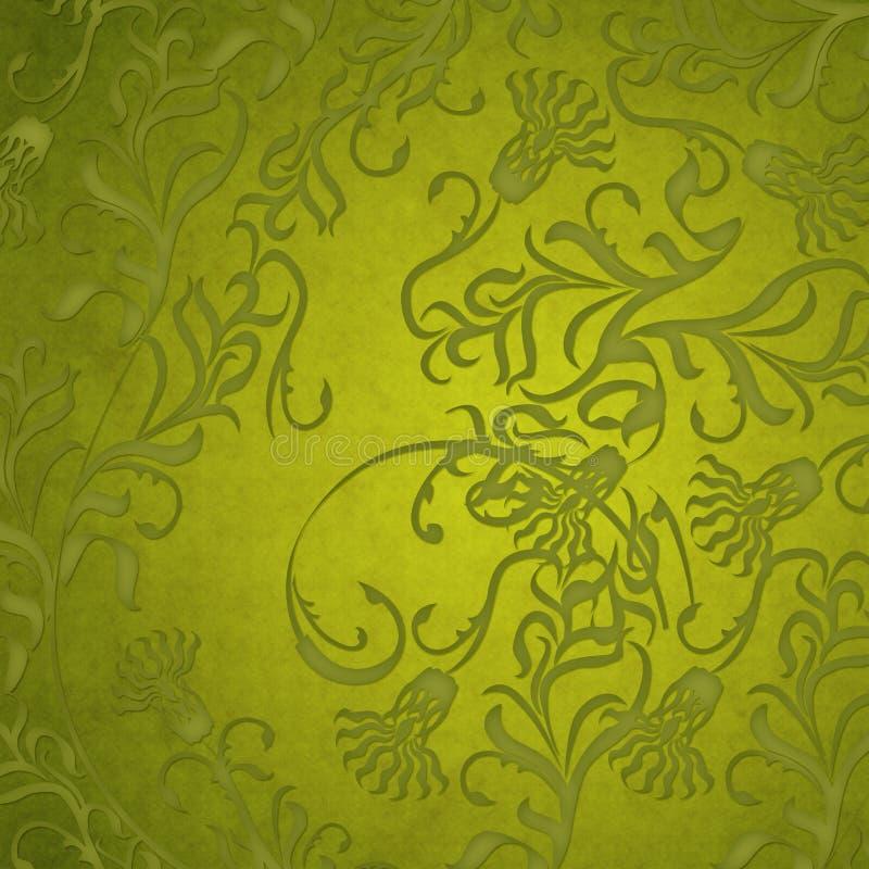 De groene bloemenachtergrond van het damast stock fotografie