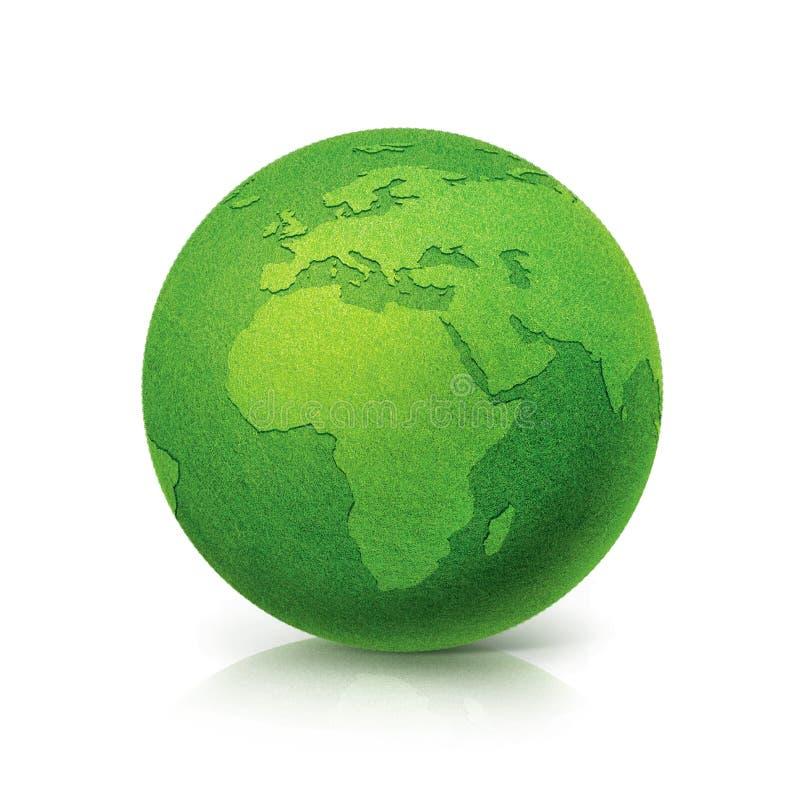 De Groene bol Europa van ECO en de kaart van Afrika op witte achtergrond royalty-vrije illustratie