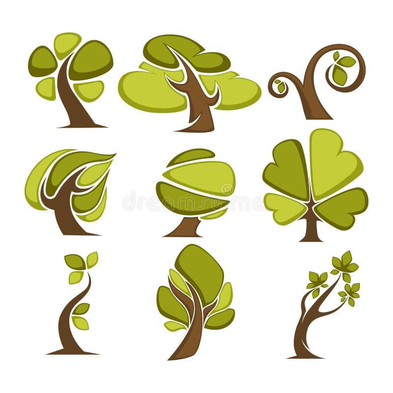 De groene bomen en pictogrammen van het boomblad of embleemmalplaatjes royalty-vrije illustratie