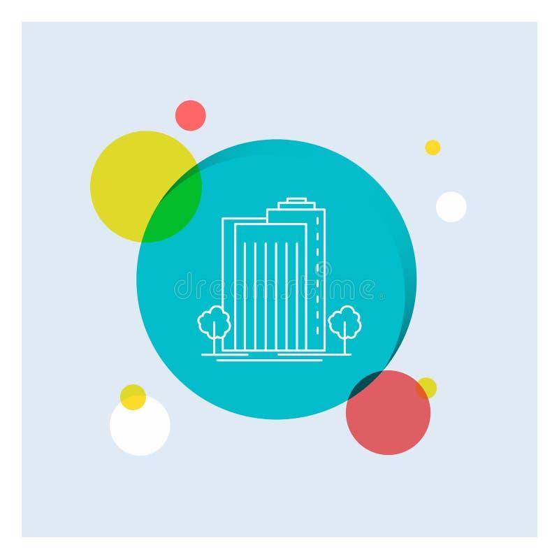 De Groene bouw, Installatie, Stad, Slimme Witte kleurrijke de Cirkelachtergrond van het Lijnpictogram royalty-vrije illustratie