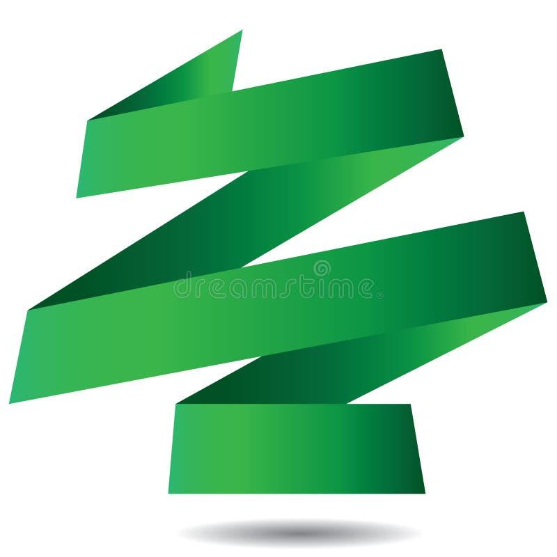 De groene die Banner van het Origamilint op witte achtergrond wordt geïsoleerd vector illustratie