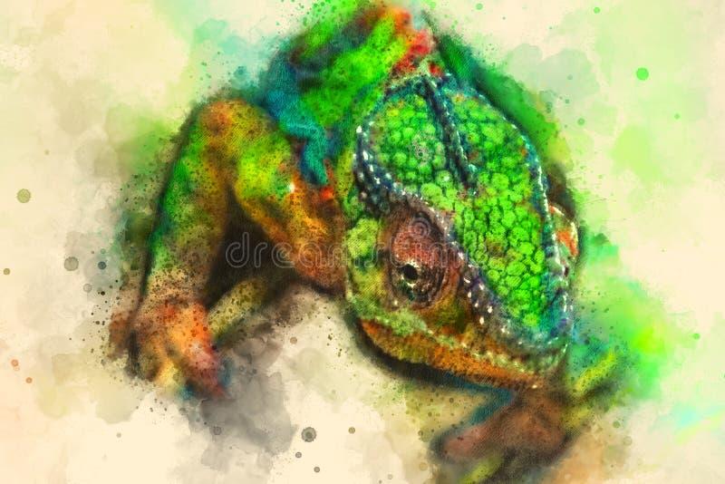 De groene digitale die illustratie van de Hagedisgekko op originele foto wordt gebaseerd royalty-vrije stock foto
