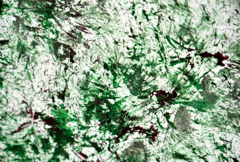 De groene donkere witte zilveren purpere achtergrond van de verfwaterverf, waterverf acryl het schilderen abstracte achtergrond royalty-vrije illustratie