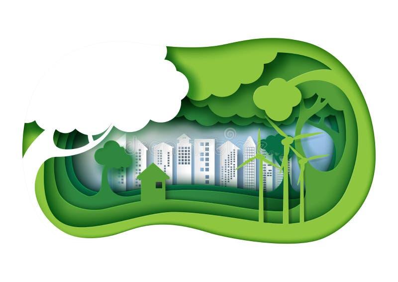 De groene eco vriendschappelijke stedelijke stad met 3d document laag sneed abstract n royalty-vrije illustratie