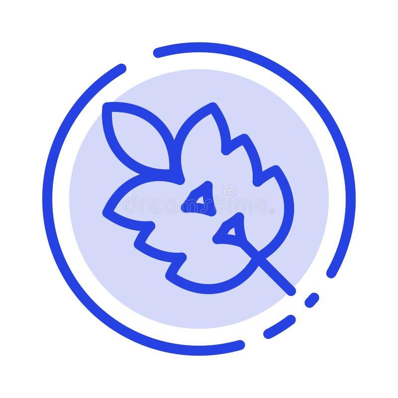 De Groene ecologie, Blad, Installatie, springt het Blauwe Pictogram van de Gestippelde Lijnlijn op stock illustratie