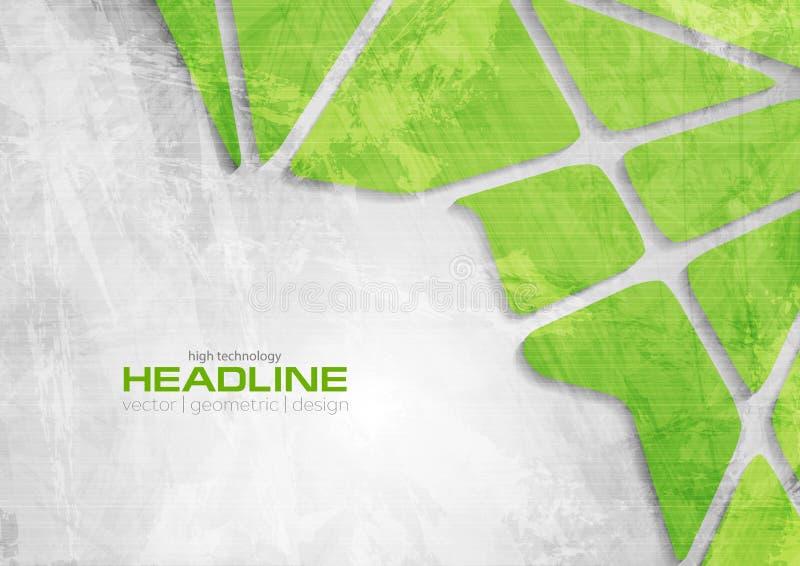 De groene en grijze collectieve achtergrond van technologie grunge royalty-vrije illustratie