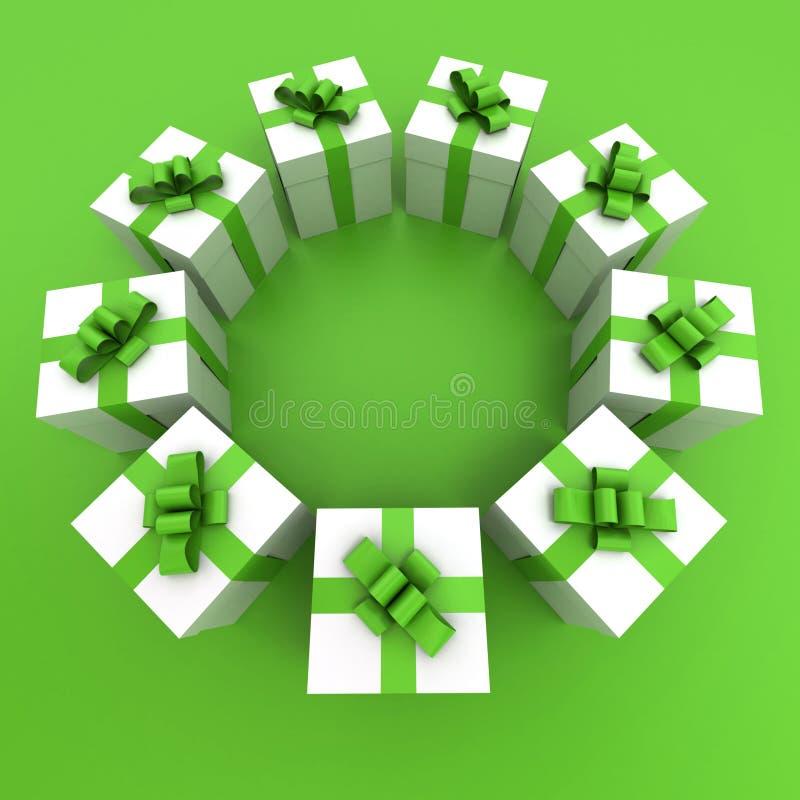 De groene en witte cirkel van giftdozen royalty-vrije illustratie