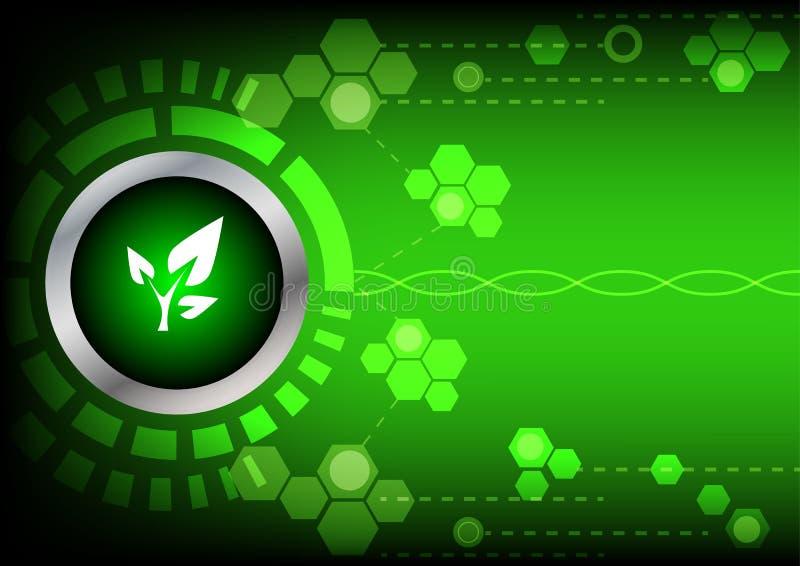 De groene energietechnologie van de Abstrackknoop op groene achtergrond vector illustratie