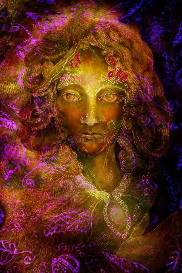 De groene geest van de fantasiefee met bladornamenten, illustratiecollage royalty-vrije stock afbeelding