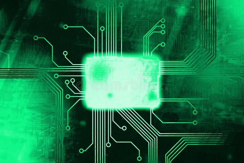 De groene Gekleurde kern van de digitale computerspaander stock illustratie