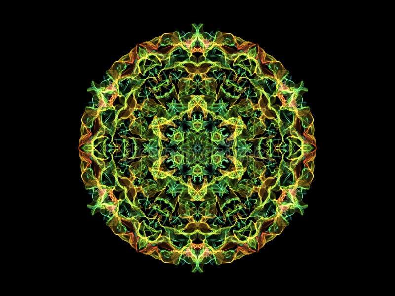 De groene, gele en oranje abstracte bloem van vlammandala, sier bloemen rond patroon op zwarte achtergrond Yogathema vector illustratie