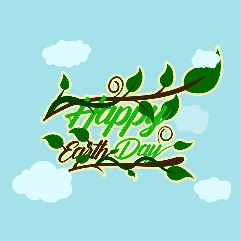 De groene gelukkige typografie van de aardedag bij de bodem en heeft hierboven stam en ranken met blad achtergrond betrekken gelu vector illustratie