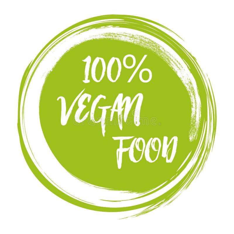 De groene getrokken hand van de het voedsel vectorillustratie van de grungeveganist logotype stock illustratie