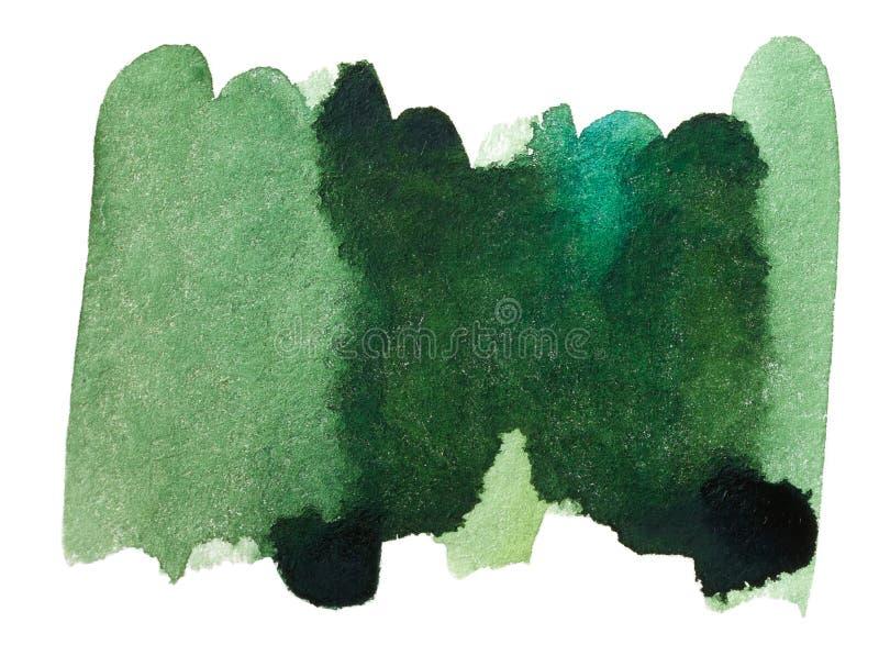 De groene getrokken hand van de waterverfplons stock afbeeldingen
