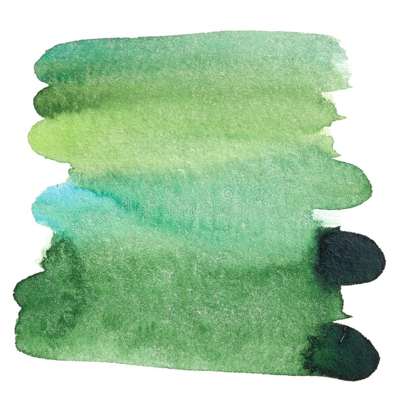 De groene getrokken hand van de waterverfplons royalty-vrije stock afbeelding