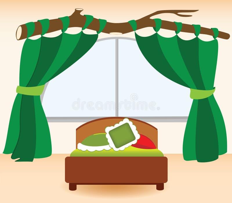 De groene gordijnen in de slaapkamer stock illustratie