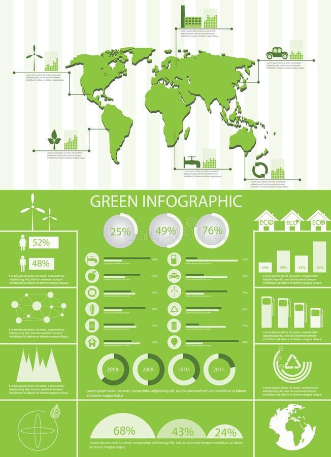 De groene grafiek van ecologieinfo stock illustratie