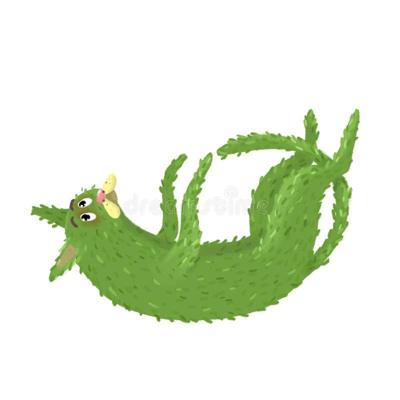 De groene grappige kat kijkt leuk royalty-vrije stock foto