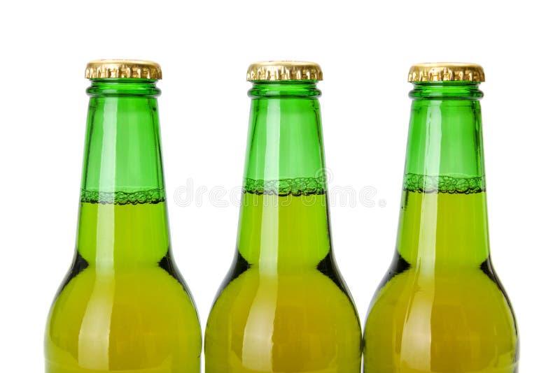 De groene halzen van de bierfles stock foto's