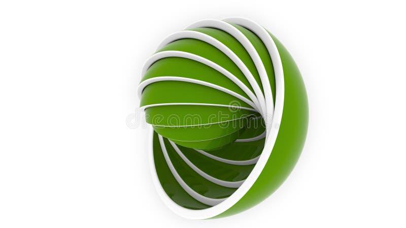 De groene hemisferen of de kommen passen elkaar Ontwerp, diverse grootte of het plastic productie verwante 3D teruggeven royalty-vrije illustratie