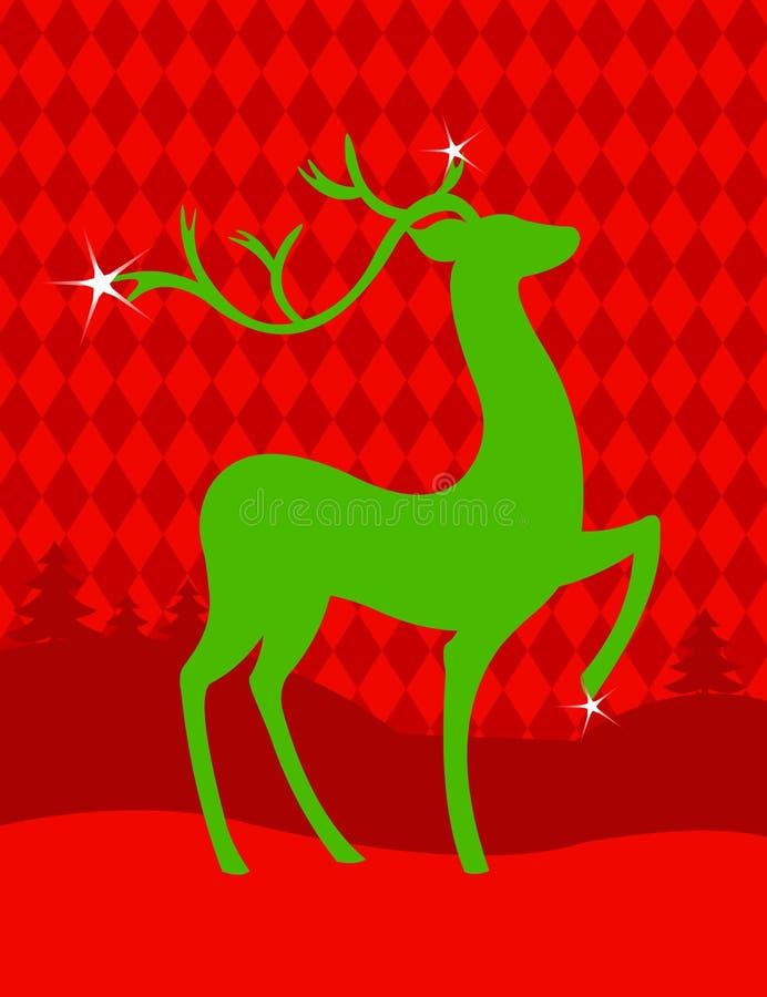 De groene herten van Kerstmis royalty-vrije illustratie