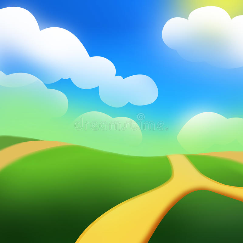 De Groene Heuvel onder de Zon vector illustratie