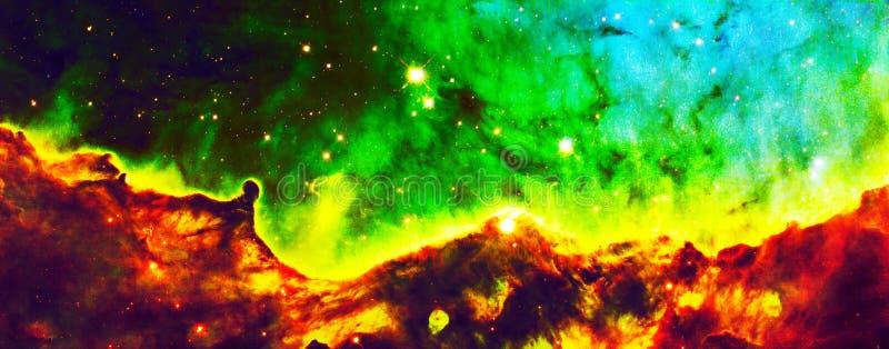 De groene Hubble Expanse Cloud Nebula Enhanced-Elementen van het Heelalbeeld van NASA/ESO | Melkweg Achtergrondbehang royalty-vrije stock afbeelding
