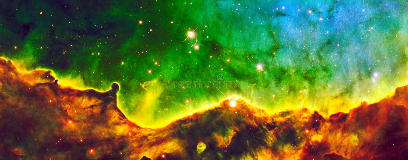 De groene Hubble Expanse Cloud Nebula Enhanced-Elementen van het Heelalbeeld van NASA/ESO | Melkweg Achtergrondbehang royalty-vrije stock foto's