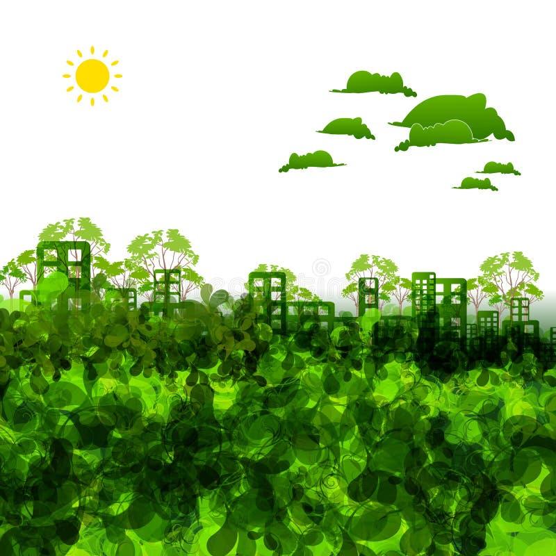 De groene illustratie van de ecostad vector illustratie