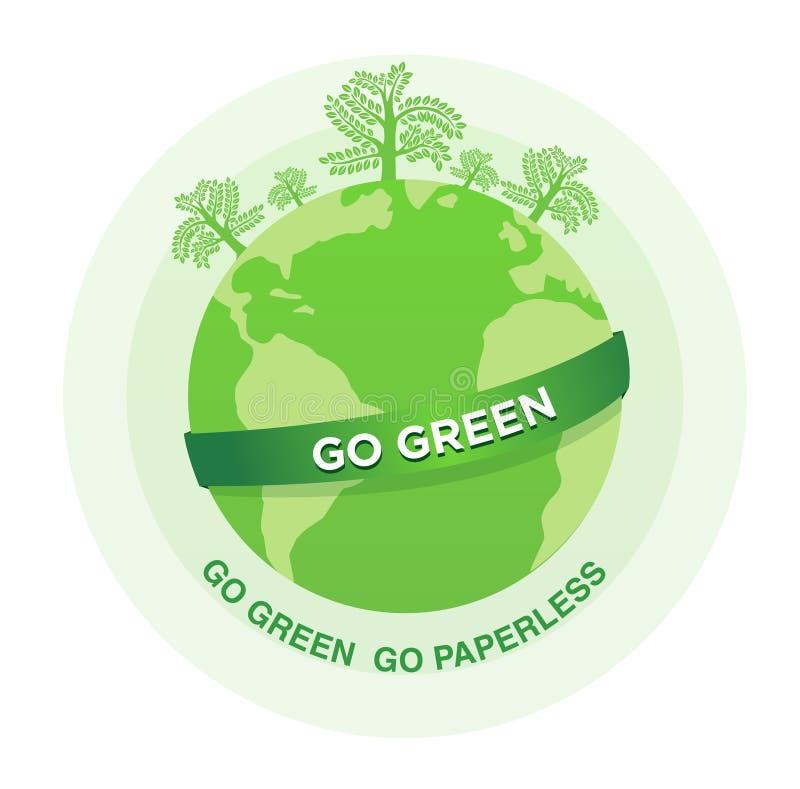 De groene illustratie van Go gaat paperless vector illustratie