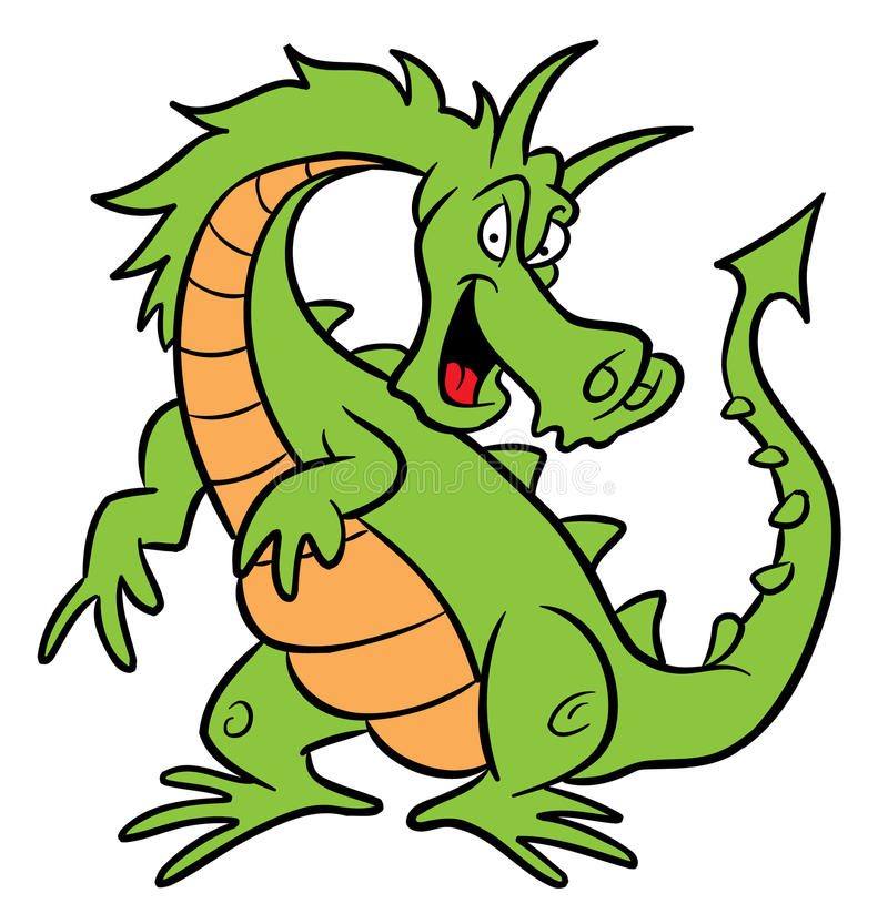 De groene illustratie van het draakbeeldverhaal royalty-vrije illustratie