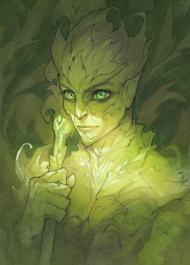 De groene illustratie van het fantasieportret van een dryadekarakter royalty-vrije illustratie