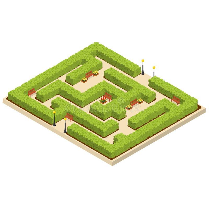 De groene Isometrische Mening van de Labyrinttuin Vector vector illustratie