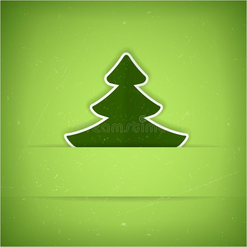 De groene kaart van de Kerstboom stock illustratie