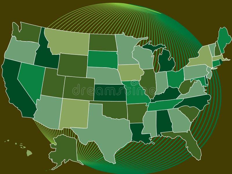 De groene kaart van de V.S. met bol vector illustratie
