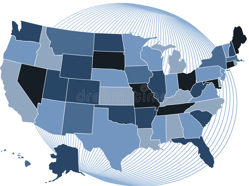 De groene kaart van de V.S. met bol stock illustratie