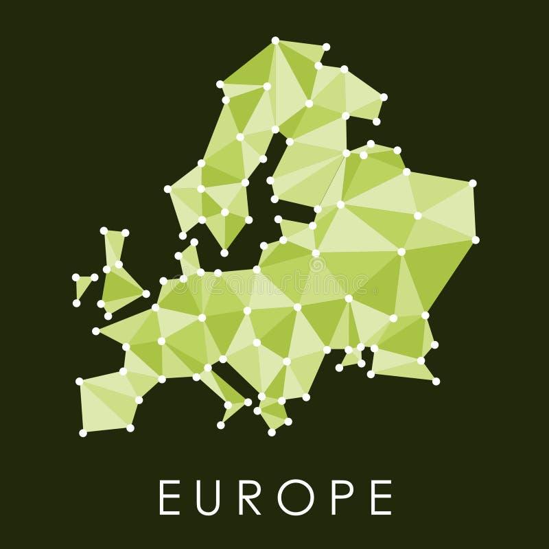 De groene kaart van Europa royalty-vrije illustratie