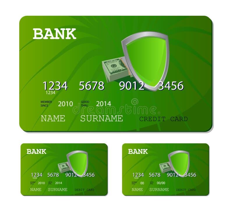 De groene kaart van het krediet of van het debet royalty-vrije illustratie