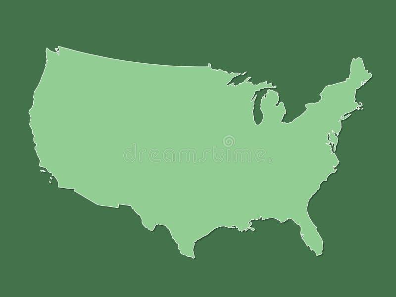 De groene kaart van de Verenigde Staten van Amerika met gevulde lijnen zonder verschillende staten op donkere achtergrond vector illustratie