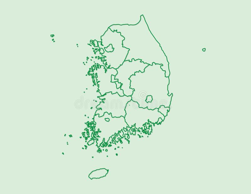 De groene kaart van Zuid-Korea met grenslijnen van verschillende provincies op lichte vectorillustratie als achtergrond vector illustratie
