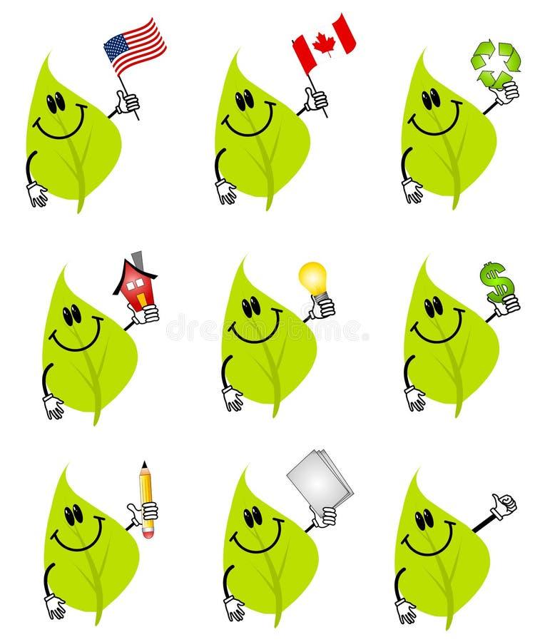 De groene Karakters van het Beeldverhaal van het Blad vector illustratie