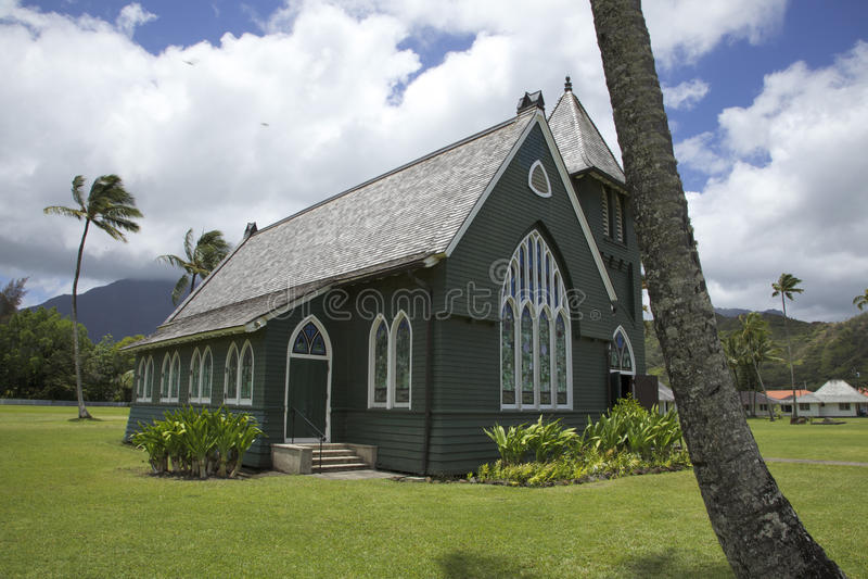 De Groene kerk van Hanalei stock afbeeldingen