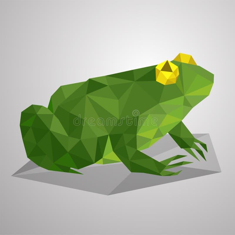 De groene kikker zit in een moeras Glad en verachtelijk dier Laag polyreptiel op een witte achtergrond royalty-vrije stock foto's
