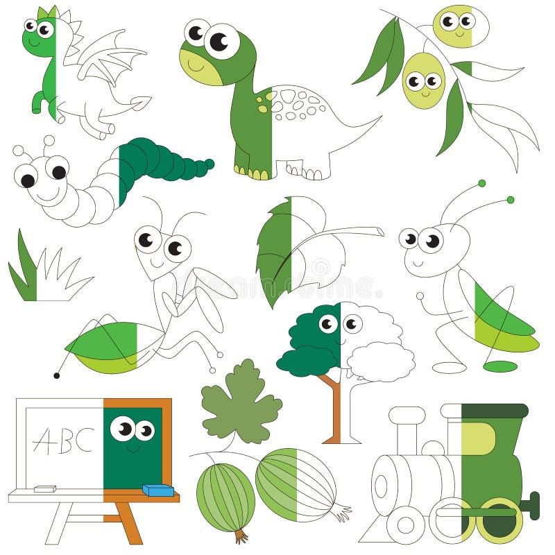 De groene Kleur heeft bezwaar, het grote jong geitjespel dat door voorbeeld half moet worden gekleurd vector illustratie