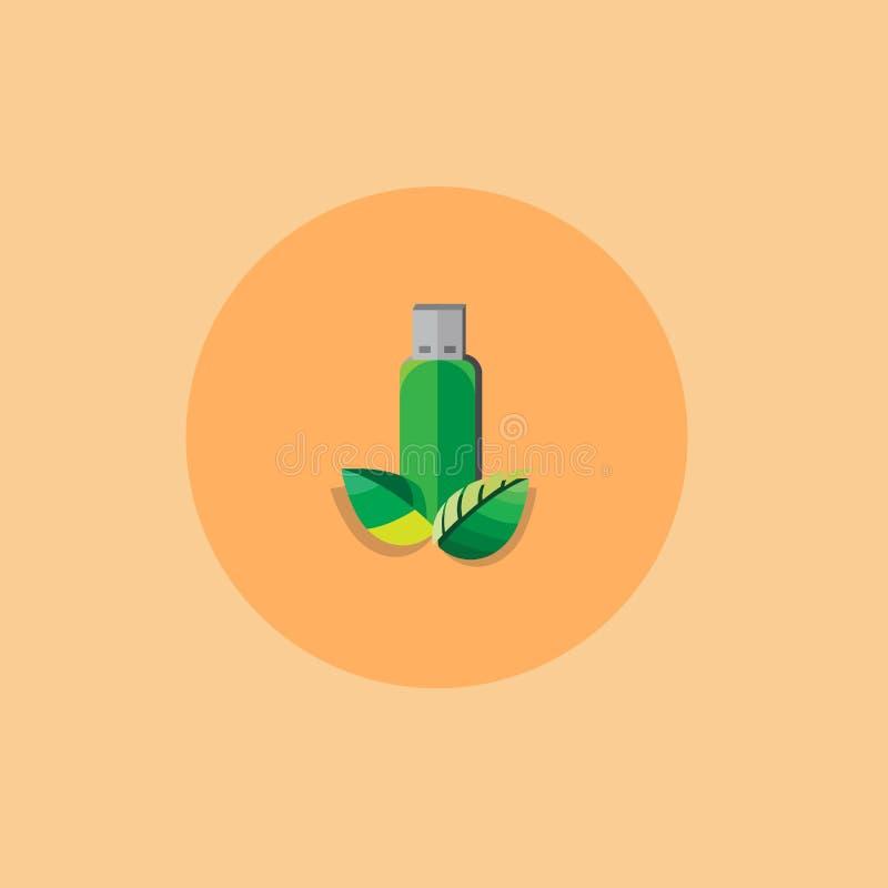De groene kleur van de flitsaandrijving met Blad vlakke stijl Vector Illustratie royalty-vrije illustratie