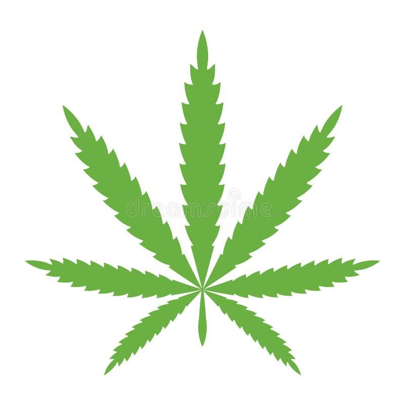 De groene kleur van het cannabisblad Vectormarihuanapictogram Symbool van hennep Illustratie die op witte achtergrond wordt ge?so stock illustratie