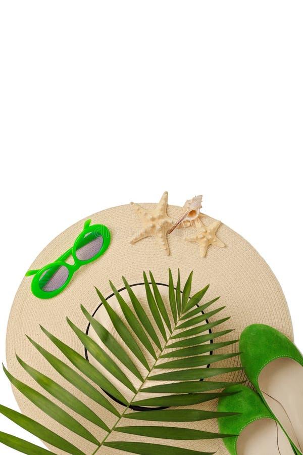 De groene kleur van strandtoebehoren met tropische palmbladen op isola stock foto