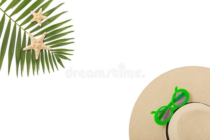 De groene kleur van strandtoebehoren met tropische palmbladen op isola royalty-vrije stock afbeelding
